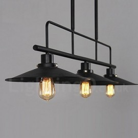 3 Light Retro,Rustic Steel Pendant Light with Steel Shade
