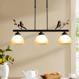 3 Light Retro,Rustic Steel Pendant Light with Glass Shade