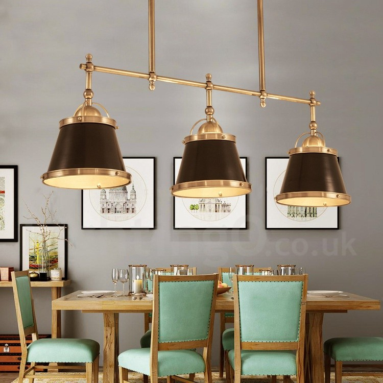 3 light retro rustic luxury brass pendant light with brass shade