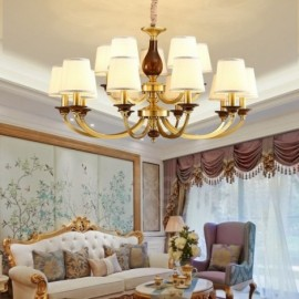 15 Light Retro,Rustic,Luxury Brass Pendant Lamp Chandelier with Glass Shade