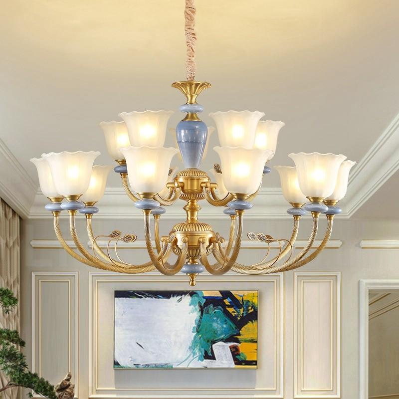 15 Light Retro Rustic Luxury Brass Pendant Lamp Chandelier With Glass Shade Lightingo Co Uk
