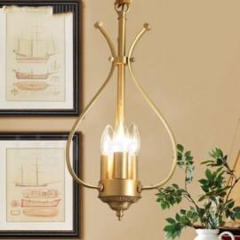 4 Light Retro,Rustic,Luxury Brass Pendant Lamp Chandelier