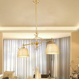 2 Light Retro,Rustic,Luxury Brass Pendant Lamp Chandelier with Fabric Shade
