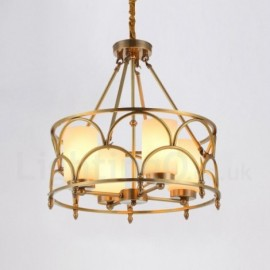 4 Light Retro,Rustic,Luxury Brass Pendant Lamp Chandelier with Glass Shade