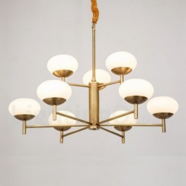 9 Light Retro,Rustic,Luxury Brass Pendant Lamp Chandelier with Glass Shade
