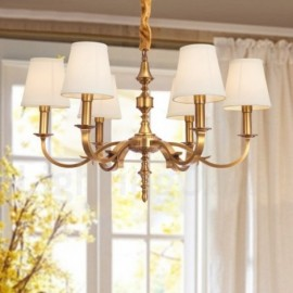 6 Light Retro,Rustic,Luxury Brass Pendant Lamp Chandelier with Fabric Shade