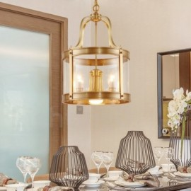 5 Light Retro,Rustic,Luxury Brass Pendant Lamp Chandelier with Glass Shade