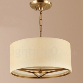 4 Light Retro,Rustic,Luxury Brass Pendant Lamp Chandelier with Fabric Shade