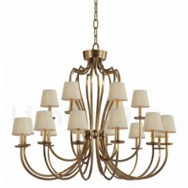 18 Light Retro,Rustic,Luxury Brass Pendant Lamp Chandelier with Fabric Shade
