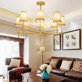 8 Light Retro,Rustic,Luxury Brass Pendant Lamp Chandelier with Fabric Shade