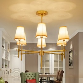6 Light Retro,Rustic,Luxury Brass Pendant Lamp Chandelier with Fabric Shade
