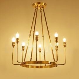 8 Light Retro,Rustic,Luxury Brass Pendant Lamp Chandelier