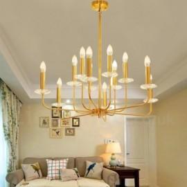 12 Light Retro,Rustic,Luxury Brass Pendant Lamp Chandelier