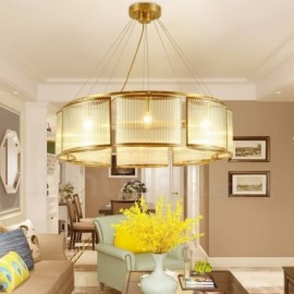 8 Light Retro,Rustic,Luxury Brass Pendant Lamp Chandelier with Glass Shade