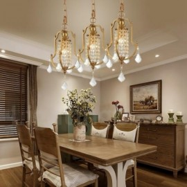 1 Light Retro,Rustic,Luxury Brass Pendant Lamp Chandelier with Crystal Shade