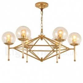 6 Light Retro,Rustic,Luxury Brass Pendant Lamp Chandelier with Glass Shade