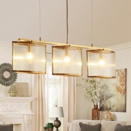 3 Light Retro,Rustic,Luxury Brass Pendant Lamp Chandelier with Glass Shade