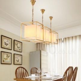 1 Light Retro,Rustic,Luxury Brass Pendant Lamp Chandelier with Fabric Shade