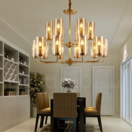 16 Light Retro,Rustic,Luxury Brass Pendant Lamp Chandelier with Glass Shade