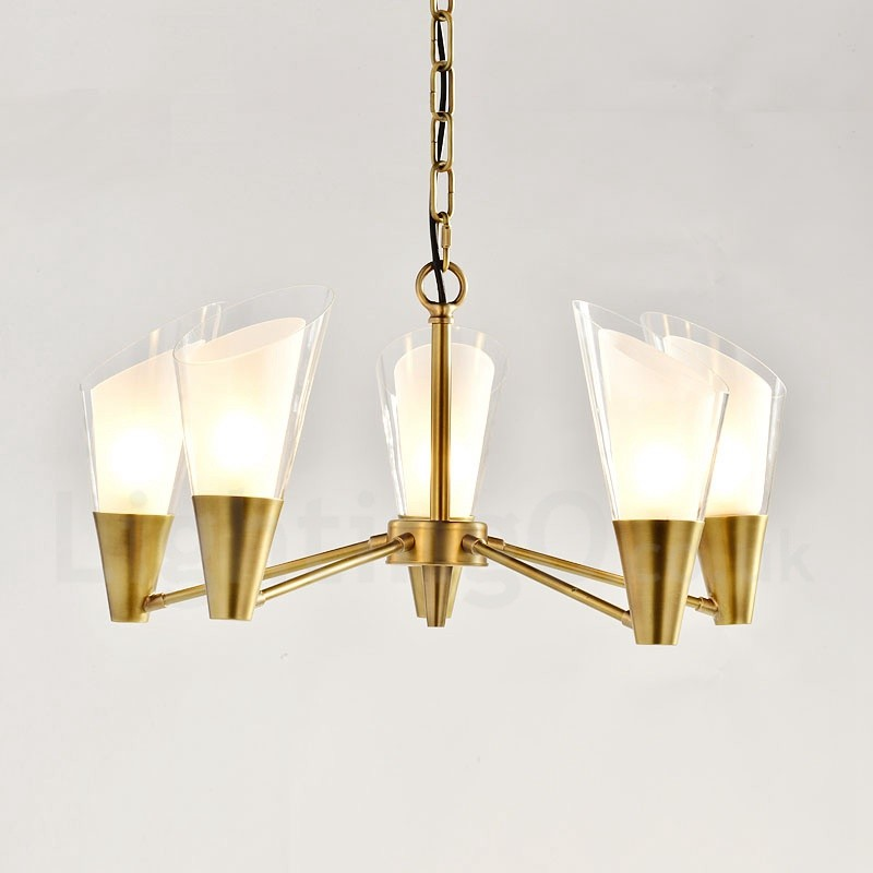 5 Light Retro Rustic Luxury Brass Pendant Lamp Chandelier With Glass Shade