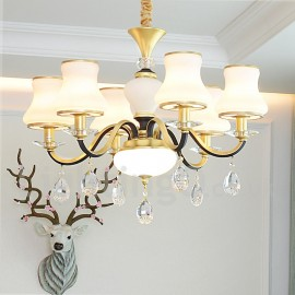 6 Light Retro, Rustic, Luxury Crystal Pendant Lamp Chandelier with Glass Shade