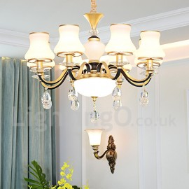 8 Light Retro, Rustic, Luxury Crystal Pendant Lamp Chandelier with Glass Shade