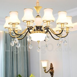 10 Light Retro, Rustic, Luxury Crystal Pendant Lamp Chandelier with Glass Shade