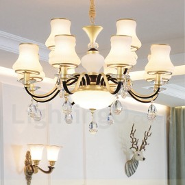 12 Light Retro, Rustic, Luxury Crystal Pendant Lamp Chandelier with Glass Shade
