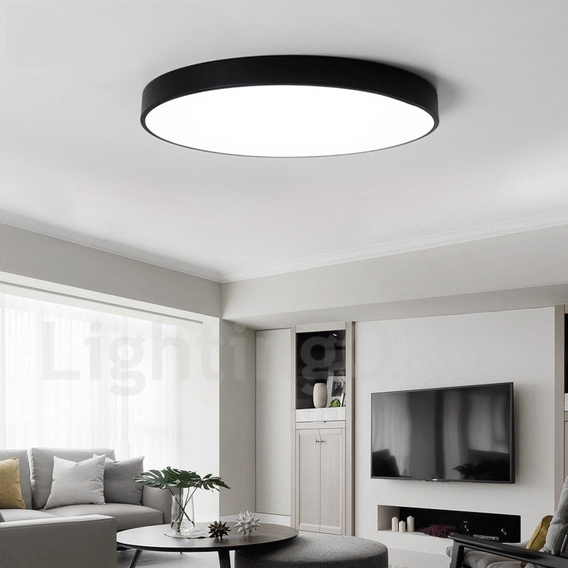 Ultra Thin Dimmable Led Modern Contemporary Nordic Style Flush Mount Ceiling Lights With
