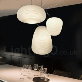 1 Light Modern / Contemporary Pendant Light Ceiling Lamp for Living Room, Study, Kitchen, Bedroom, Dining Room with Glass Shade