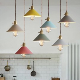 1 Light Modern/ Contemporary Steel Pendant Light with Steel Shade