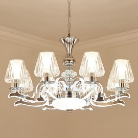 Retro, Rustic, Luxury Crystal Pendant Lamp Chandelier with Glass Shade