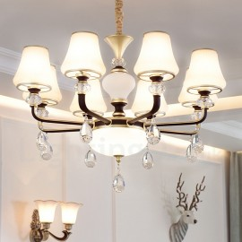 Modern / Contemporary Retro Luxury Crystal Pendant Lamp Chandelier with Glass Shade