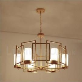 Modern / Contemporary 6 Light Brass Pendant Light with Glass Shade for Living Room, Dinning Room, Bedroom, Hotel