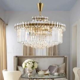 Modern / Contemporary 9 Light Steel Pendant Light with Crystal Shade for Living Room, Dinning Room, Bedroom