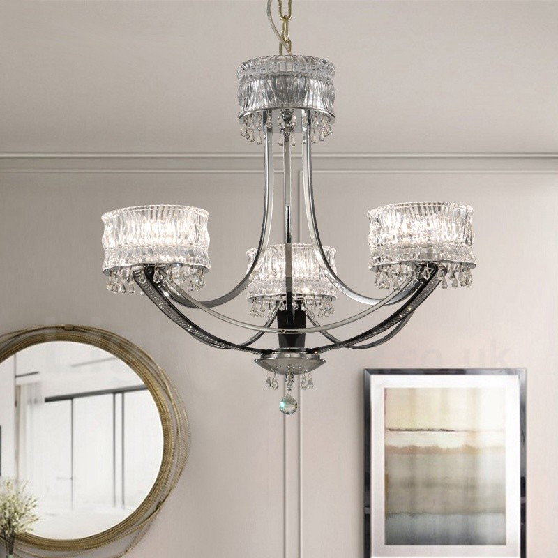 Modern contemporary 3 light steel chandelier with - Modern lamp shades for living room ...