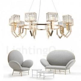 Modern / Contemporary 10 Light Steel Pendant Light with Crystal Shade for Bathroom, Living Room, Kitchen, Bedroom, Hotel, Corridor, Dinning Room, Courtyard
