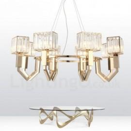 Modern / Contemporary 8 Light Steel Pendant Light with Crystal Shade for Bathroom, Living Room, Kitchen, Bedroom, Hotel, Corridor, Dinning Room, Courtyard