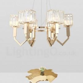 Modern / Contemporary 6 Light Steel Pendant Light with Crystal Shade for Bathroom, Living Room, Kitchen, Bedroom, Hotel, Corridor, Dinning Room, Courtyard