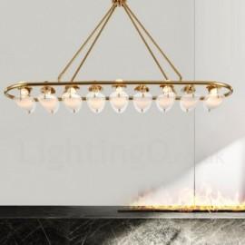 Modern / Contemporary 9 Light Brass Pendant Light with Glass Shade for Living Room, Dinning Room, Bedroom, Hotel