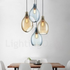 Modern / Contemporary 1 Light Glass Pendant Light with Glass Shade for Living Room, Dinning Room, Courtyard, Bedroom, Hotel
