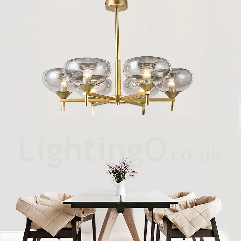 Modern Contemporary 6 Light Aluminum Alloy Chandelier With Glass Shade For Bathroom Living