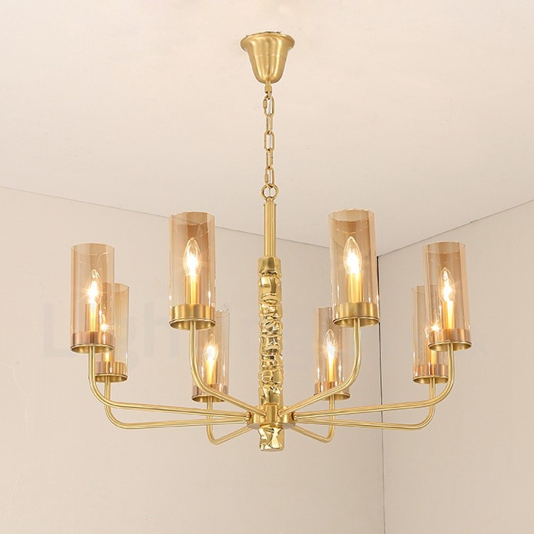 Modern contemporary 8 light brass chandelier with glass shade for bathroom living room for Contemporary bathroom chandeliers
