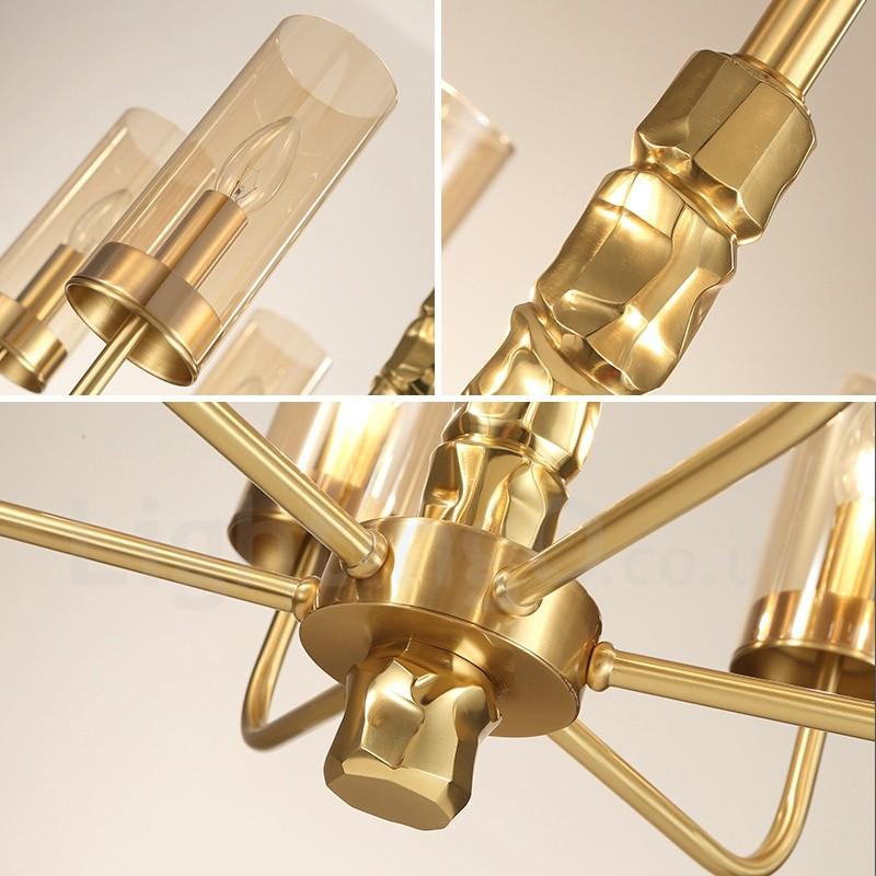 Modern contemporary 8 light brass chandelier with glass - Contemporary bathroom chandeliers ...