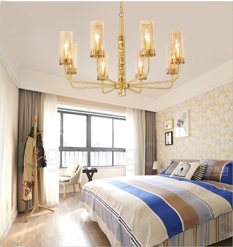 Modern contemporary 8 light brass chandelier with glass - Living room bedroom bathroom kitchen ...