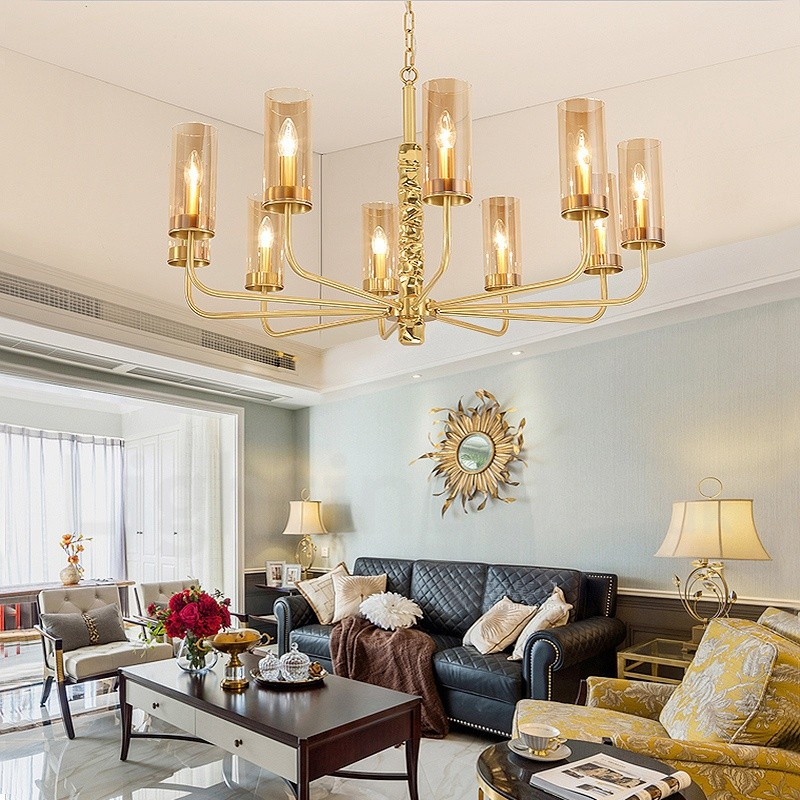 Modern / Contemporary 10 Light Brass Chandelier With Glass