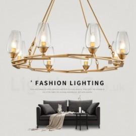 Modern / Contemporary 8 Light Steel Pendant Light with Glass Shade for Living Room, Dinning Room, Bedroom