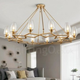 Modern / Contemporary 12 Light Steel Pendant Light with Glass Shade for Living Room, Dinning Room, Bedroom