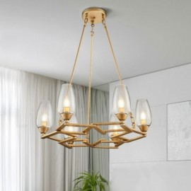 Modern / Contemporary 6 Light Steel Pendant Light with Glass Shade for Living Room, Dinning Room, Bedroom