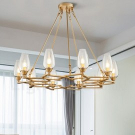 Modern / Contemporary 10 Light Steel Pendant Light with Glass Shade for Living Room, Dinning Room, Bedroom
